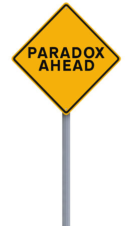 to contradict: A conceptual road sign indicating Paradox Ahead  Stock Photo