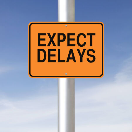 delays: A road sign warning of delays ahead  Stock Photo