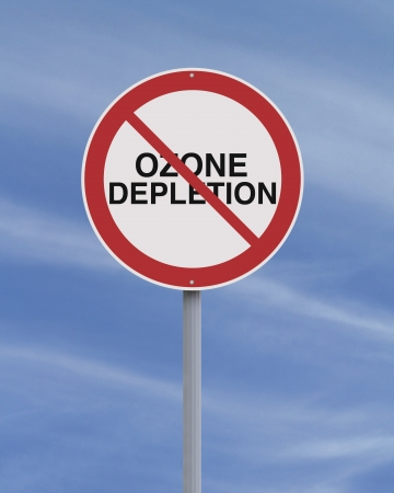 depletion: An environmental road sign against ozone depletion