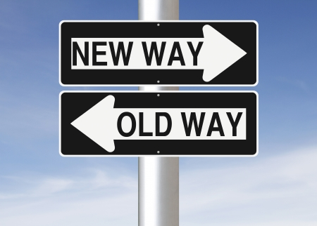 Conceptual one way road signs on change or choices  Imagens