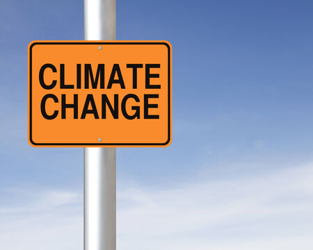 A road sign warning of climate change ahead