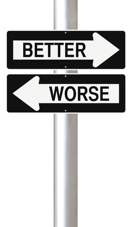 worse: Modified one way street signs indicating better and worse  Stock Photo