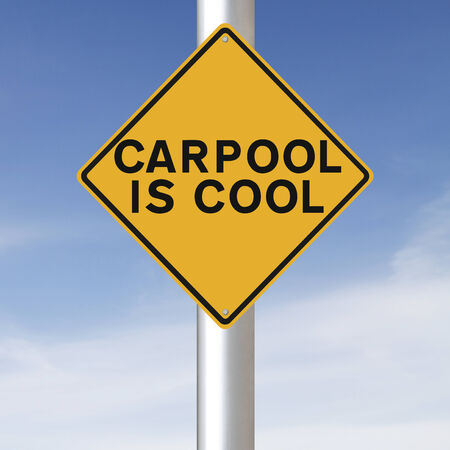 A road sign promoting carpooling