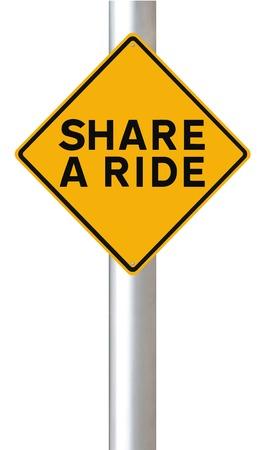 Een milieu verkeersbord bevorderen carpooling Stockfoto - 24751429
