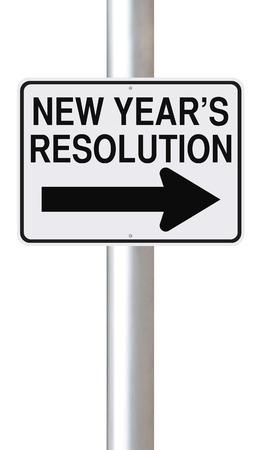 year        s: Un cartello stradale che indica la risoluzione del nuovo anno s