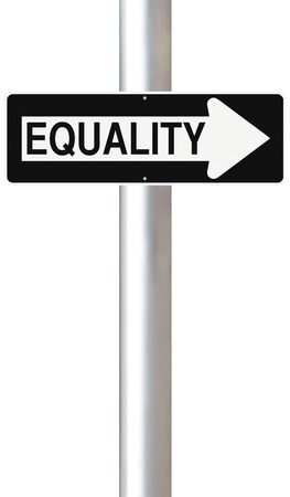A modified one way street sign indicating Equality  photo