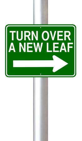 A road sign indicating Turn Over A New Leaf  photo