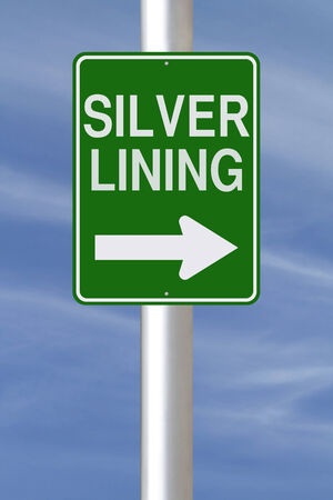 lining: Modified one way sign indicating Silver Lining  Stock Photo