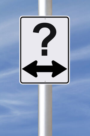 decision making: A modified one way street sign with a question mark  Stock Photo