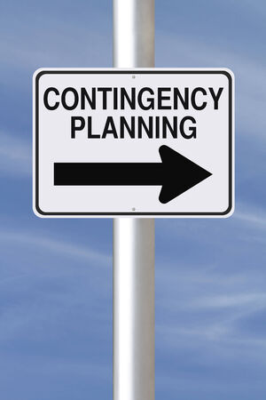 contingency: A modified one way road sign on Contingency Planning  Stock Photo