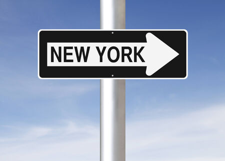 new way: A modified one way sign indicating New York