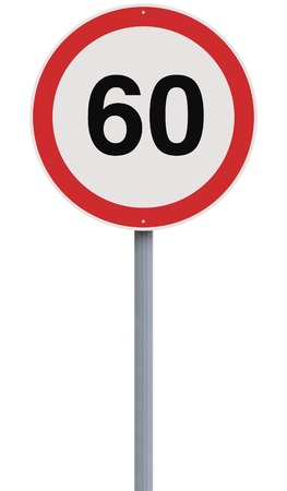 sixty: A modified speed limit sign indicating the number sixty  Stock Photo