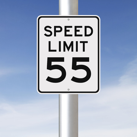 A speed limit sign indicating 55