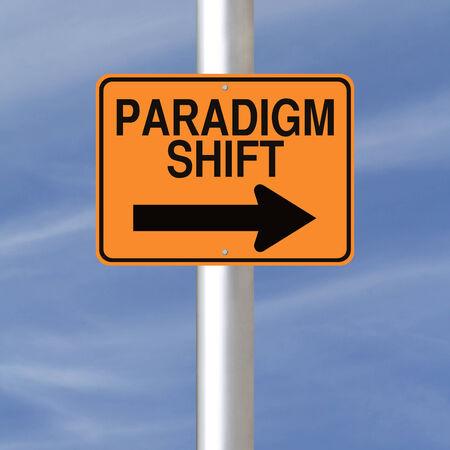 Concettuale avvertimento segno che indica Paradigm shift