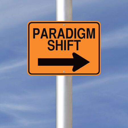 paradigma: Se�al de advertencia conceptual que indica cambio de paradigma Foto de archivo