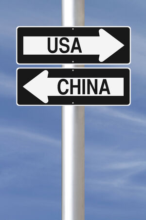 Conceptual one way signs showing USA and China in opposite directions  photo