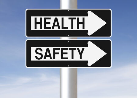 safety signs: Conceptual one way street signs indicating Health and Safety  Stock Photo