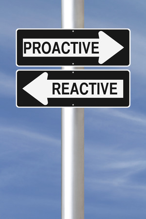 reactive: Modified one way street signs on being proactive or reactive  Stock Photo