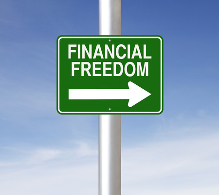 A modified one way street sign on Financial Freedom  photo