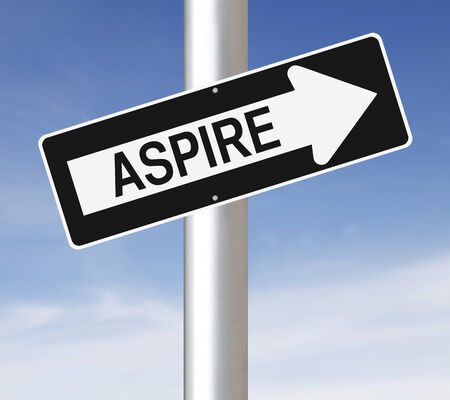 Conceptual one way street sign on motivation or aspiration