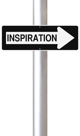 Conceptual one way street sign on Inspiration  photo