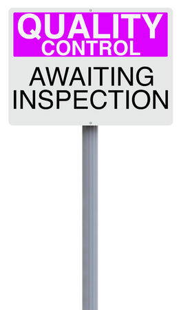 awaiting: A quality control sign indicating Awaiting Inspection  Stock Photo
