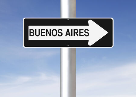 A modified one way sign indicating Buenos Aires  Argentina   photo