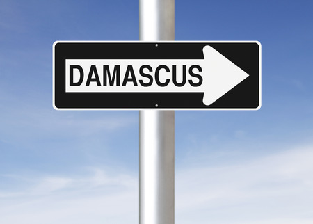 one way: A modified one way sign indicating Damascus  Syria