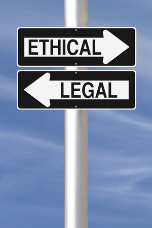 Conceptual one way signs on ethics and law