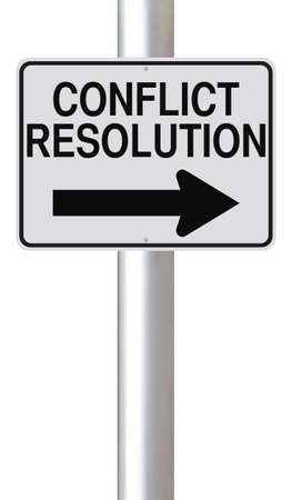 A modified one way street sign indicating Conflict Resolution  photo