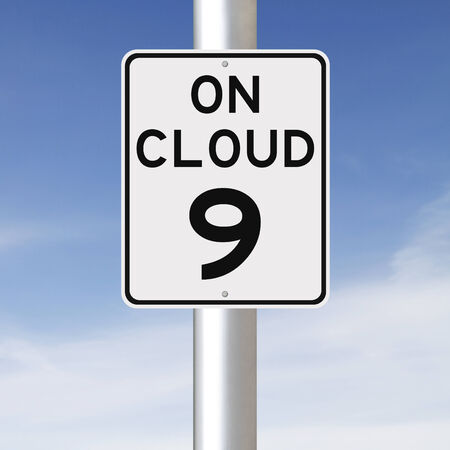 on cloud nine: A modified speed limit sign indicating On Cloud 9  Stock Photo
