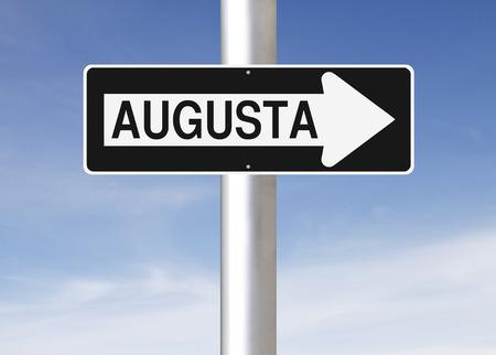 augusta: Un signo de una forma modificada que indica Augusta EE.UU.