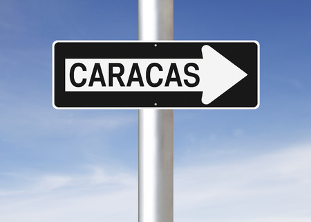 caracas: A modified one way sign indicating Caracas  Venezuela   Stock Photo