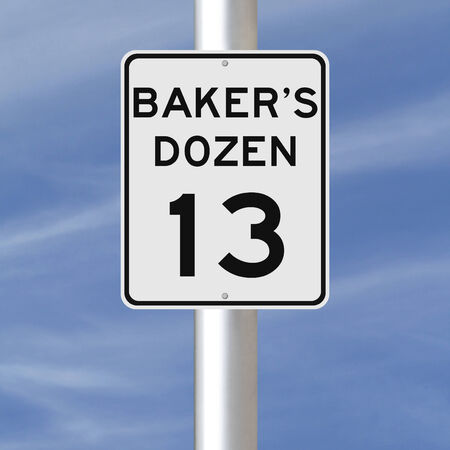 baker's: A modified speed limit sign indicating Baker s Dozen