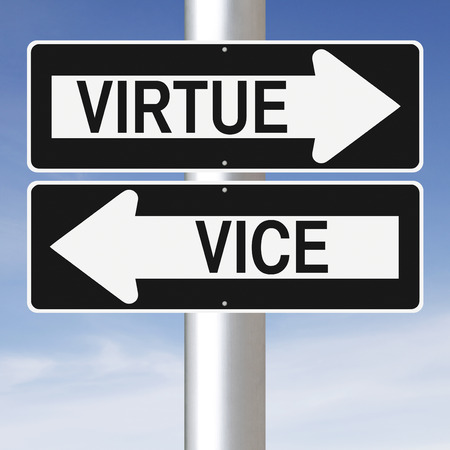 virtue: Conceptual one way street signs indicating Virtue and Vice