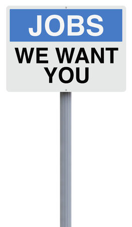 Conceptual road sign on jobs or employment  photo