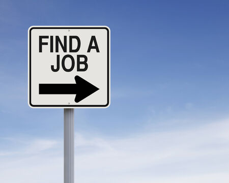 Modified one way sign on job hunting Stock Photo - 27496704