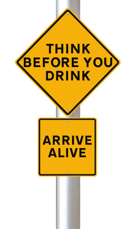 Modified road sign warning of the danger of drinking and driving  photo