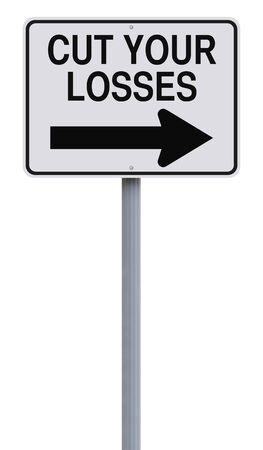 Conceptual one way street sign indicating Cut Your Losses  photo