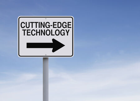 latest: A modified one way street sign on Cutting-Edge Technology  Stock Photo