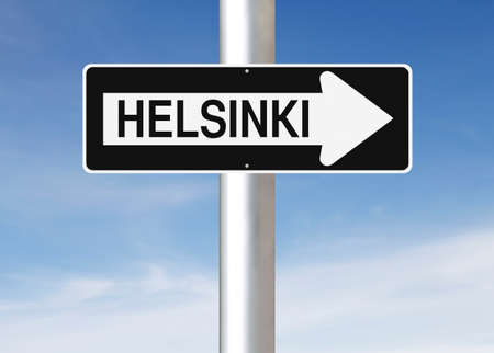 one way: A modified one way sign indicating Helsinki