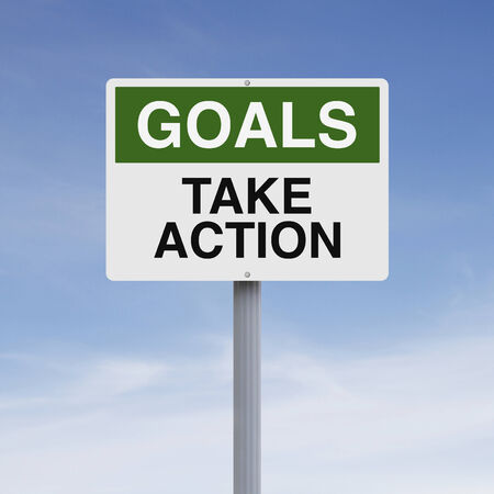 goal setting: A conceptual sign on Goals  Stock Photo