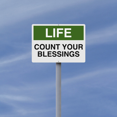 bless: A conceptual sign on counting your blessings  Stock Photo