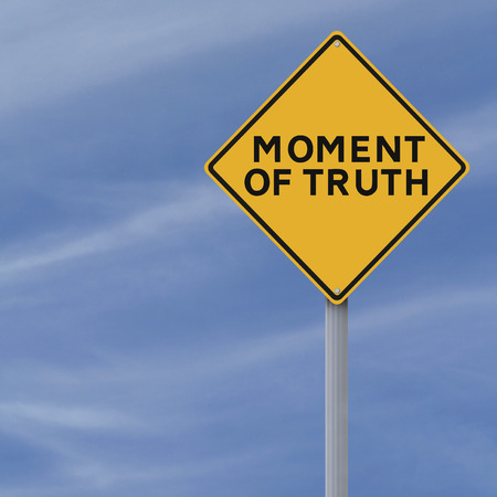 A conceptual road sign indicating Moment of Truth Stock Photo - 28633649
