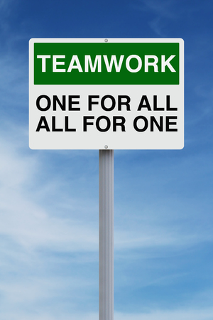 Conceptual road sign on teamwork  photo