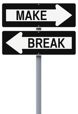 Modified one way street signs indicating Make and Break  photo