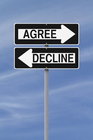 Modified one way street signs pointing in opposite directions and indicating Agree and Decline  Stock Photo