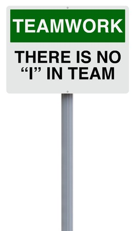 all in one: Conceptual road sign on teamwork