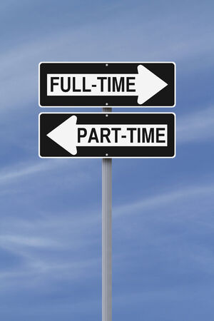 long term: Modified one way street signs indicating full-time and part-time  Stock Photo