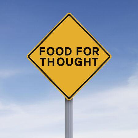 Een conceptueel verkeersbord met vermelding van Food for Thought
